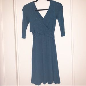 Amadi XS Teal Faux Wrap Sweater Dress Midi